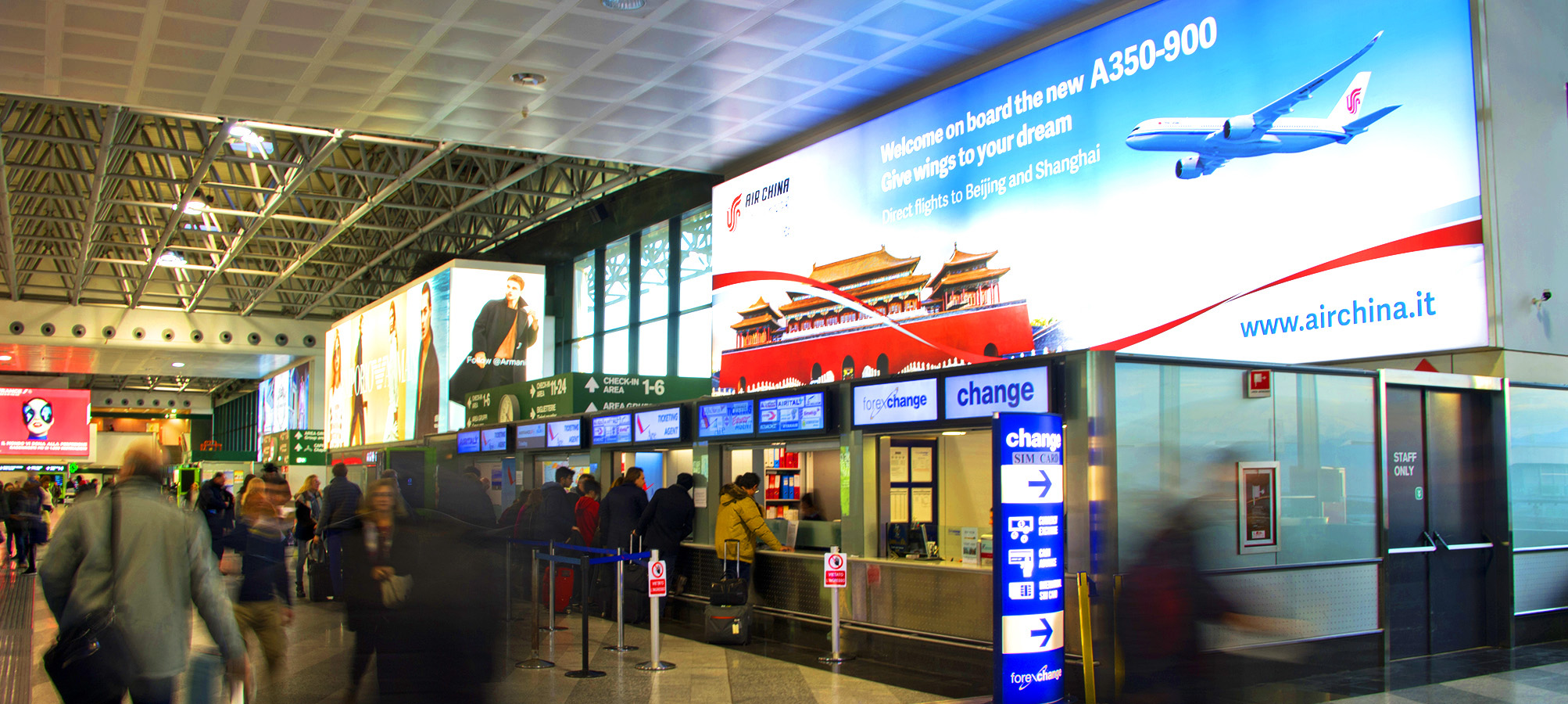 Air China airport advertising at Malpensa