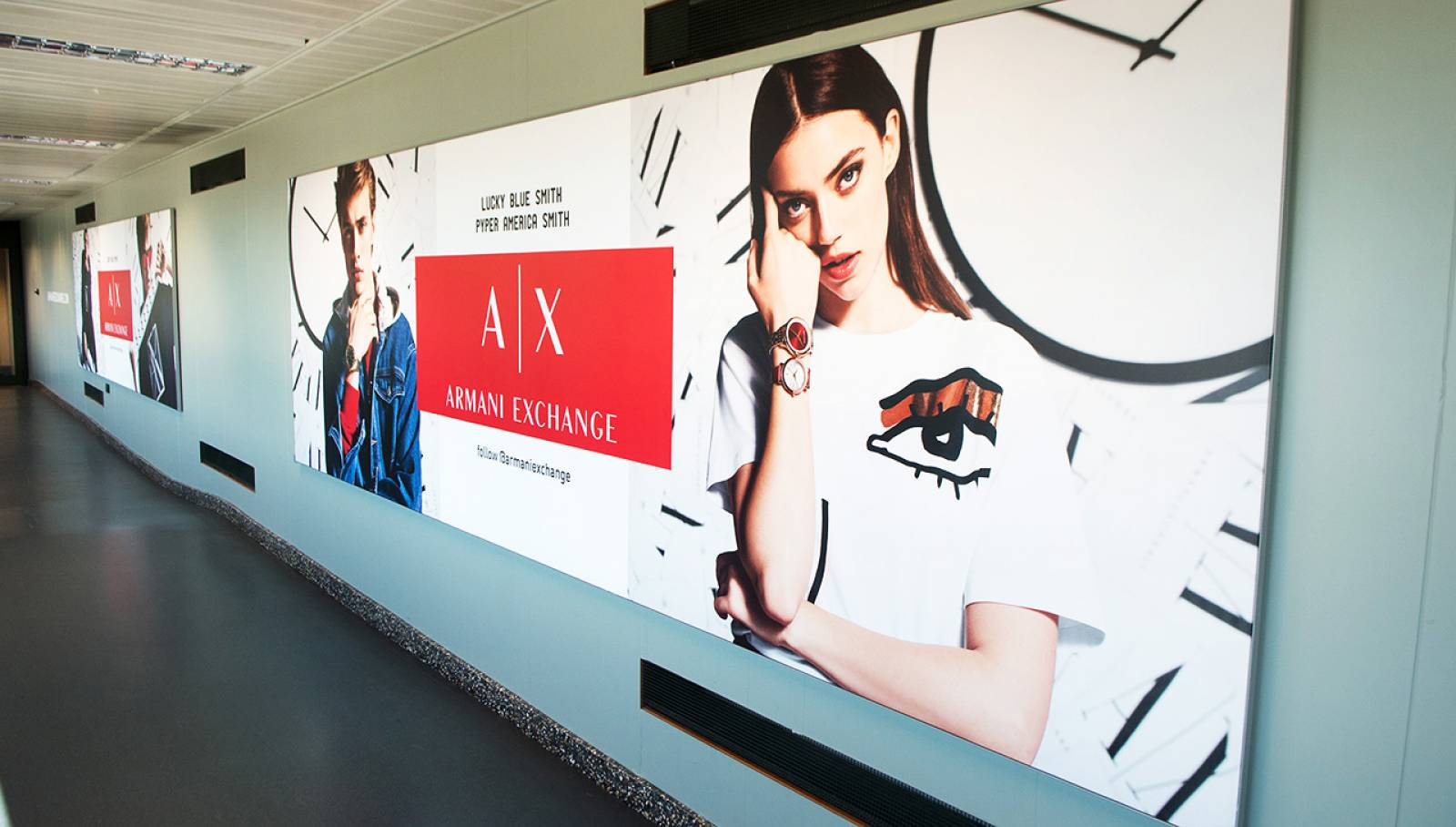 Outdoor advertising at Malpensa airport Finger IGPDecaux for Armani