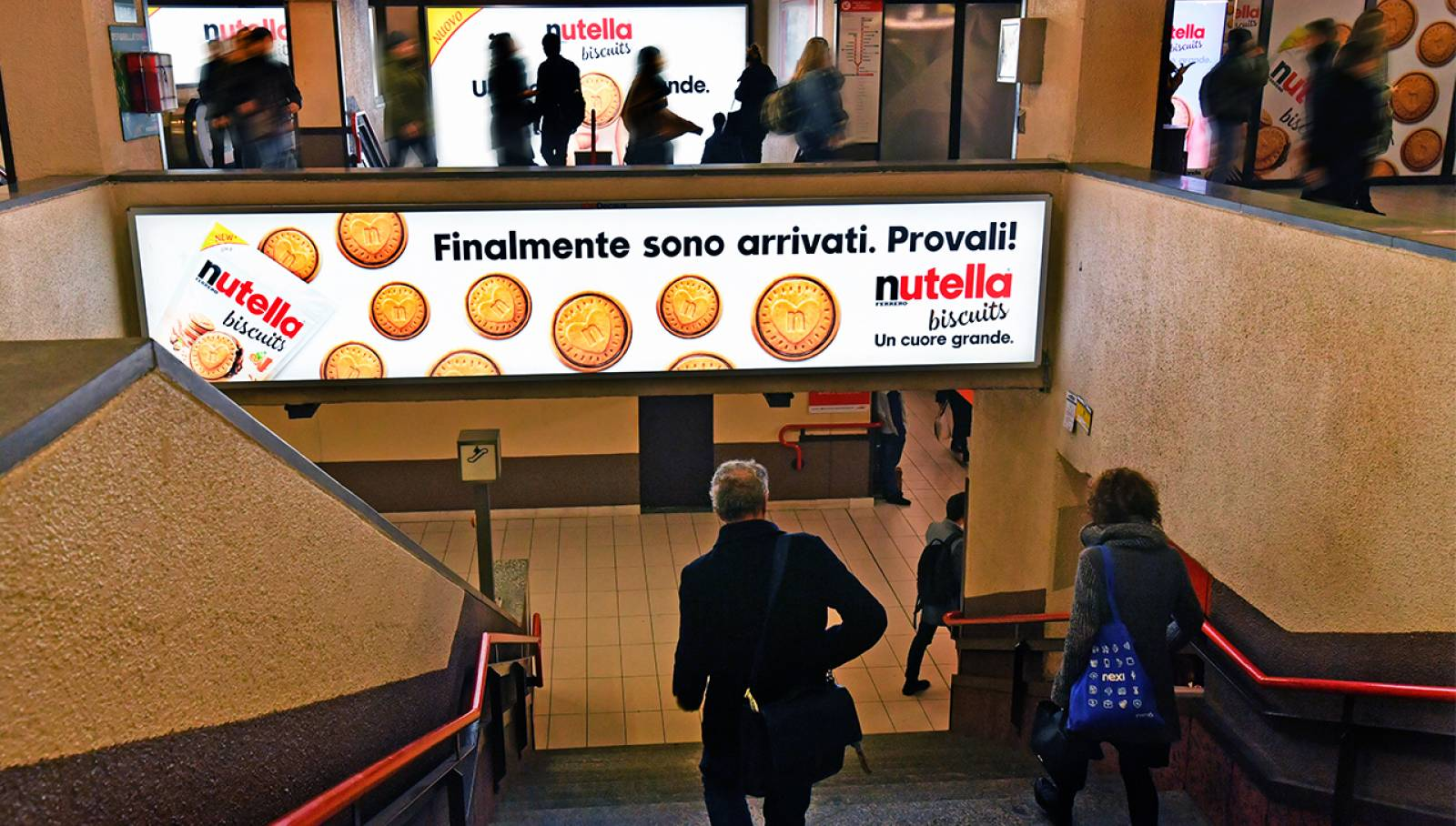 OOH IGPDecaux Milan Station Domination for Ferrero Nutella Biscuits