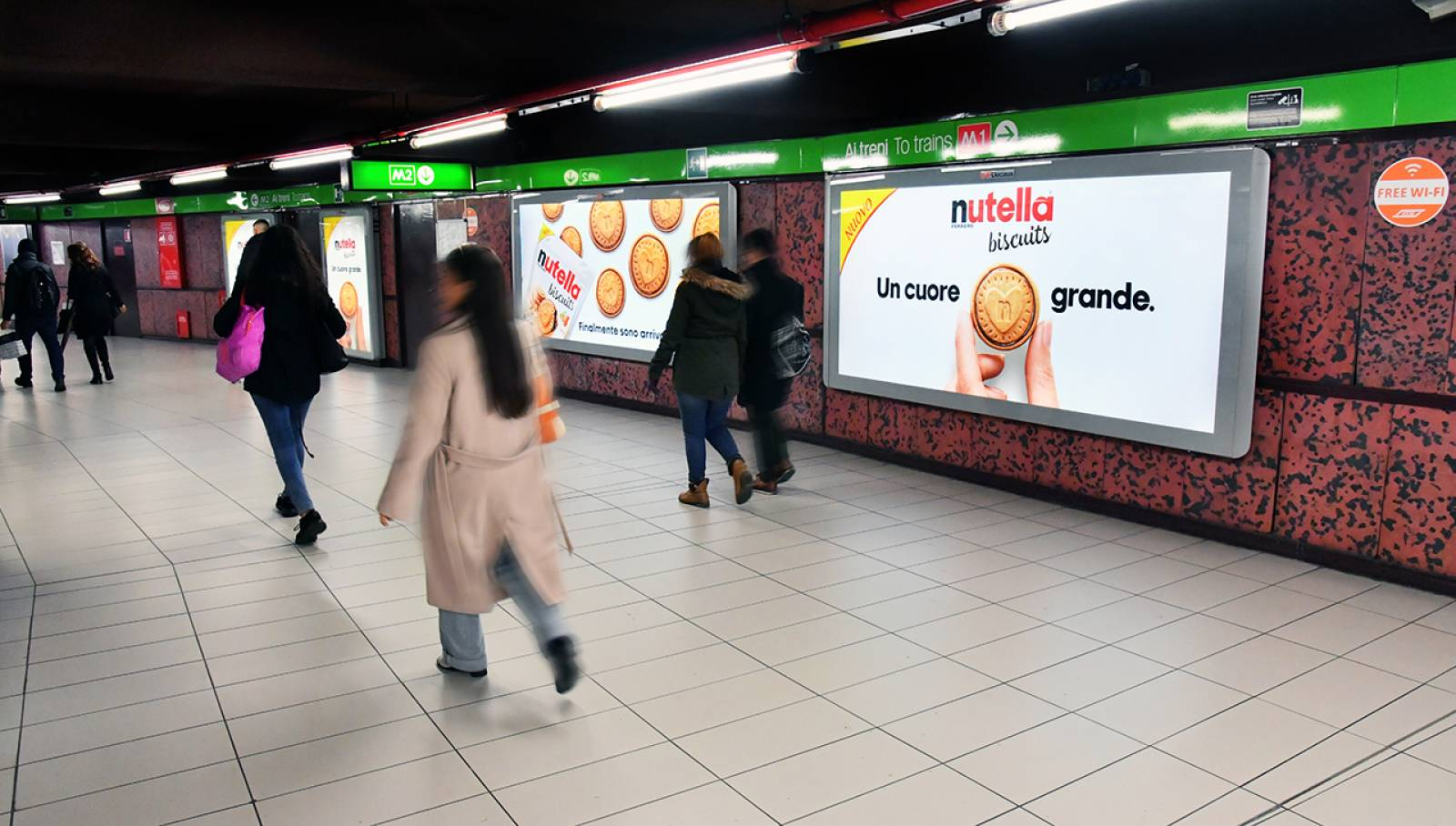Underground OOH advertising IGPDecaux in Milan Station Domination for Ferrero Nutella Biscuits