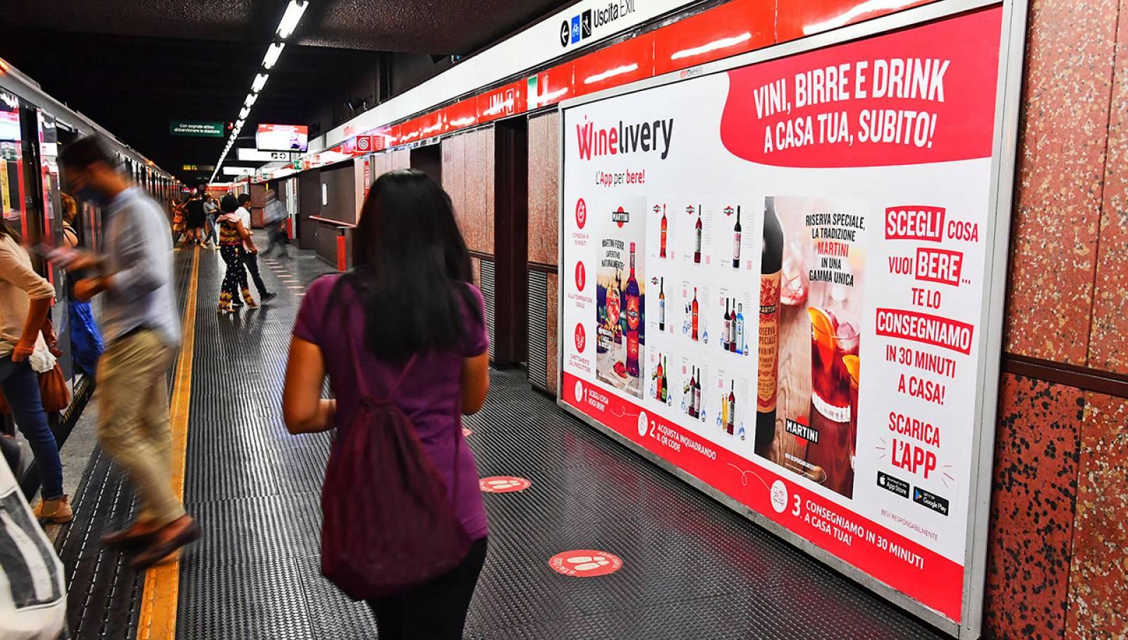 Pubblicità OOH metropolitana IGPDecaux Cirucito Mini per Winelivery