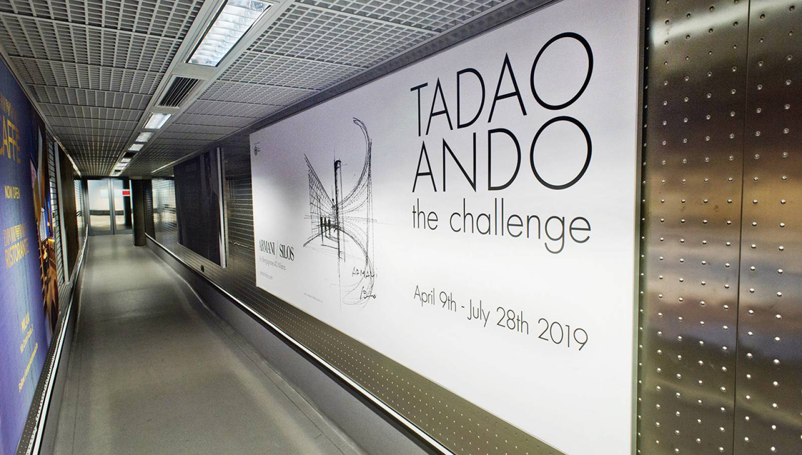 OOH advertising IGPDecaux Finger for Armani at Malpensa Airport