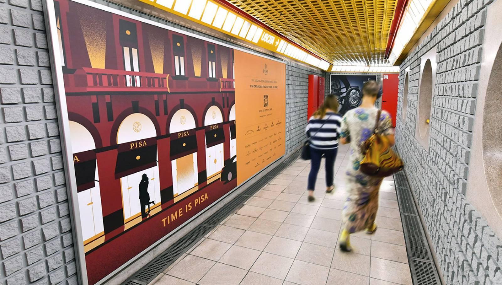 Comunicazione esterna IGPDecaux Station Domination a Milano per Pisa Orologeria