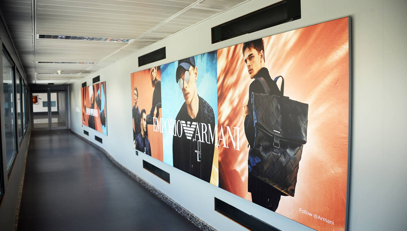 IGPDecaux outdoor advertising at Malpensa airport Finger for Armani