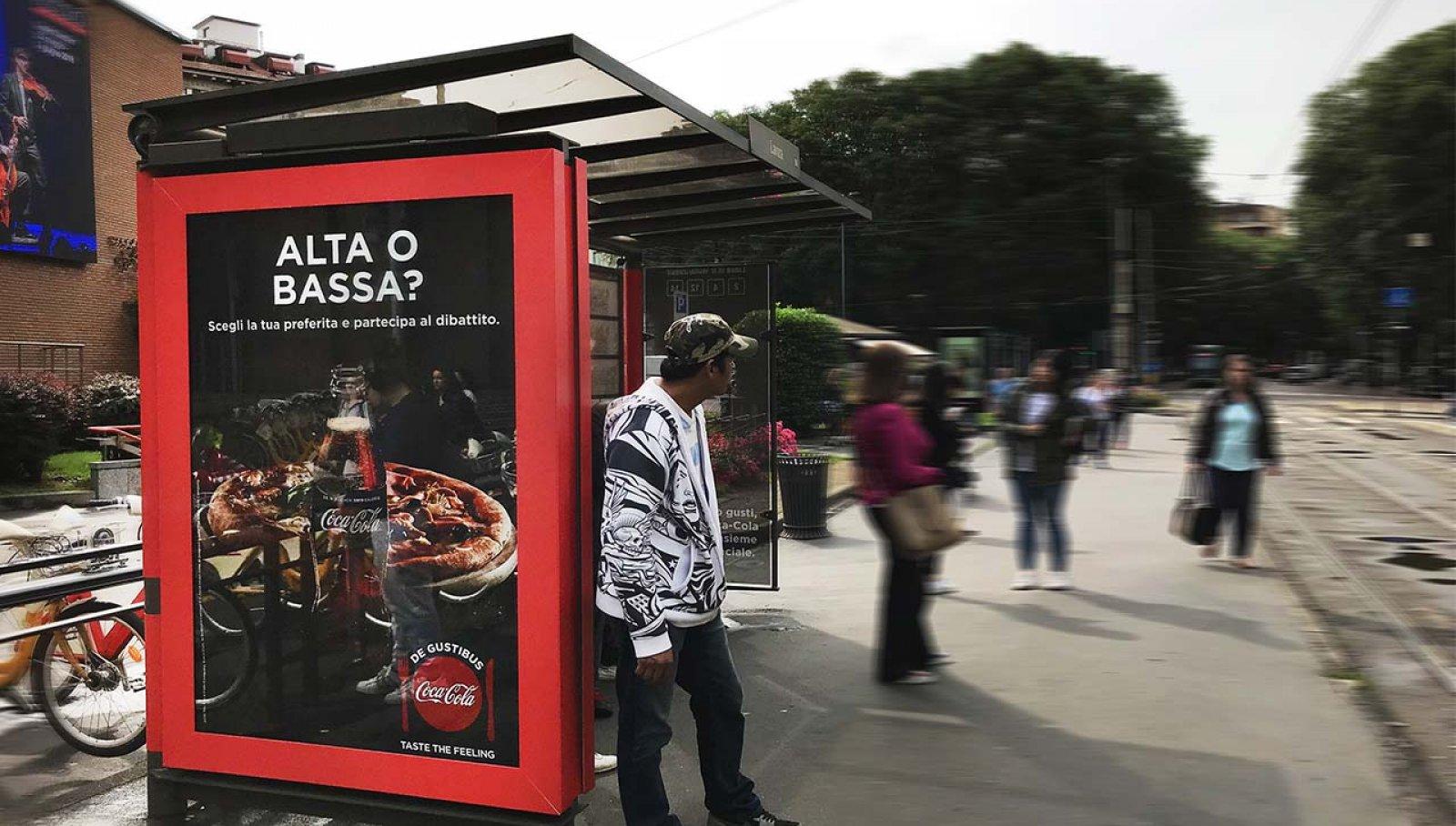 Coca-Cola DeGustibus brand pensilina touch Milano