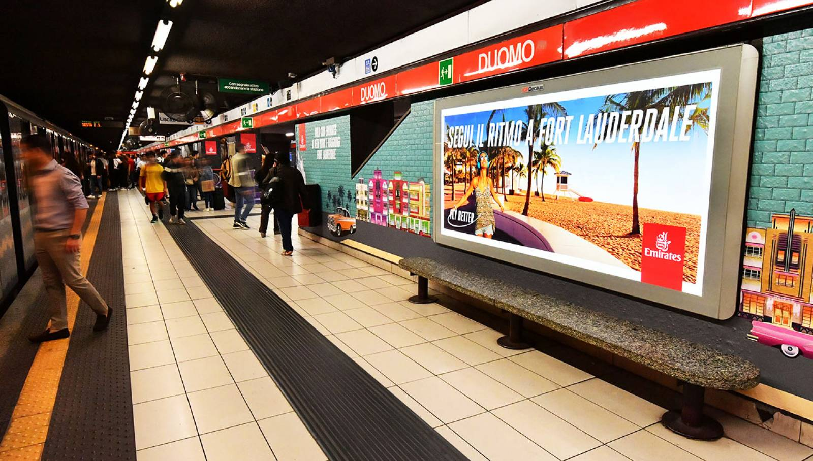 Outdoor advertising IGPDecaux a Milano Station Domination per Emirates