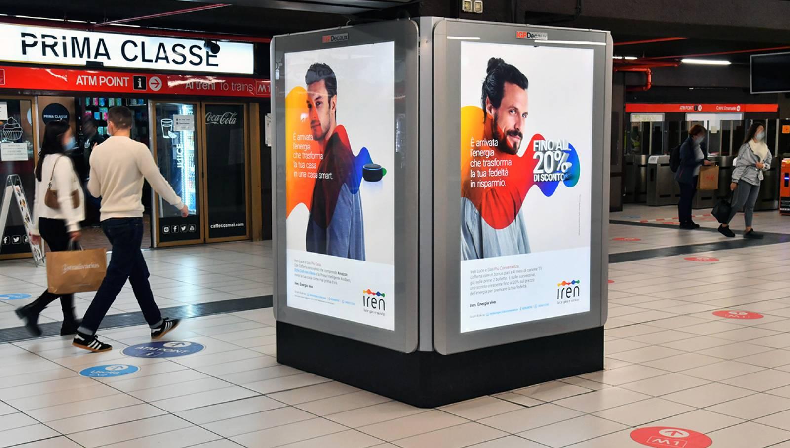 Pubblicità in metropolitana a Milano Station Domination IGPDecaux per Iren