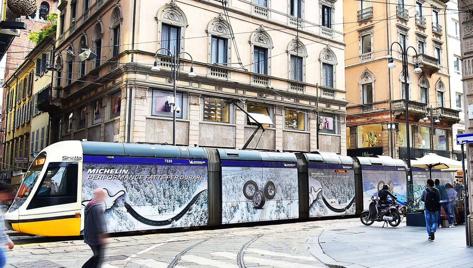 Advertising on milanese tram IGPDecaux Full-Wrap in Milan for Michelin