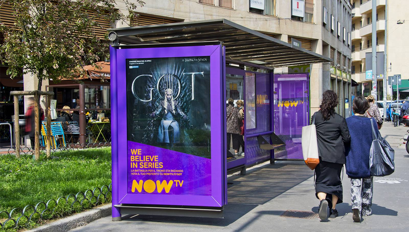 Out of Home advertising in Milan Brand Shelters IGPDecaux for Game of Thrones Now TV