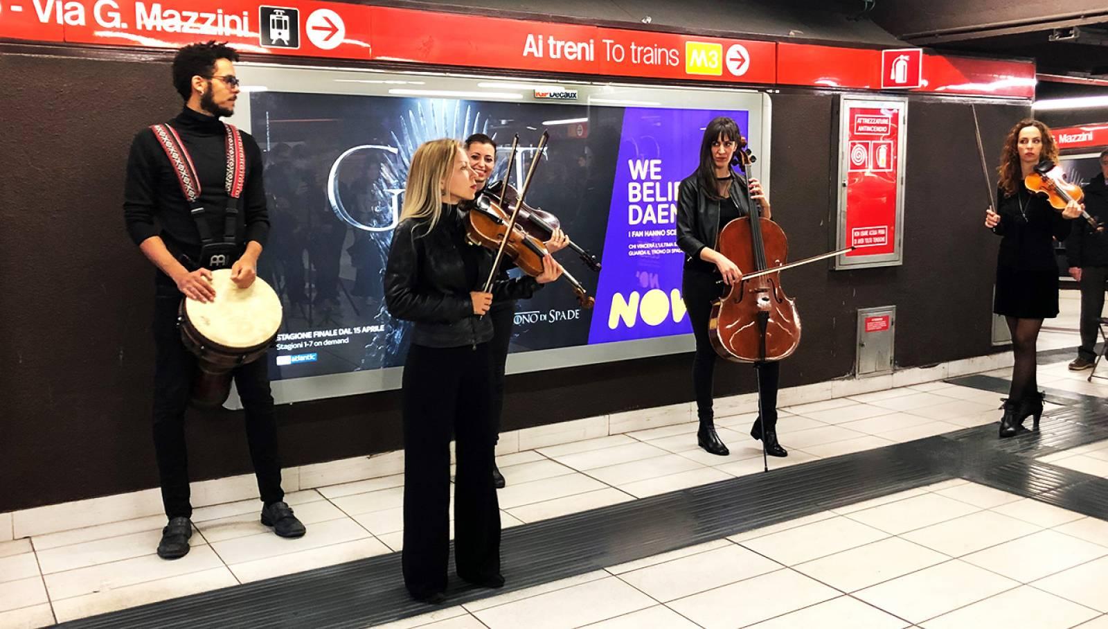 IGPDecaux Creative Solutions string quartet for Game of Thrones underground station of Duomo Milan