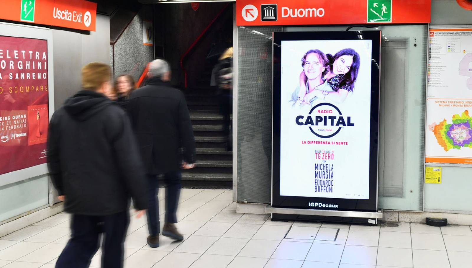 OOH advertising IGPDecaux in Milan Underground Vision Network for Radio Capital
