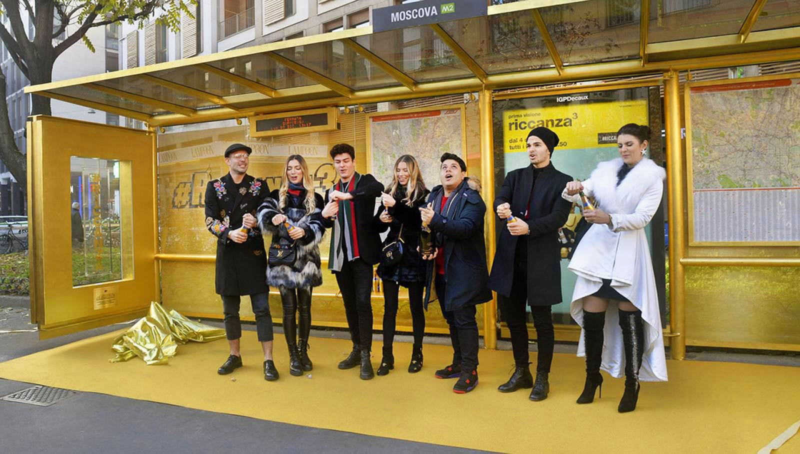 IGPDecaux Milan golden brand shelter for Riccanza MTV