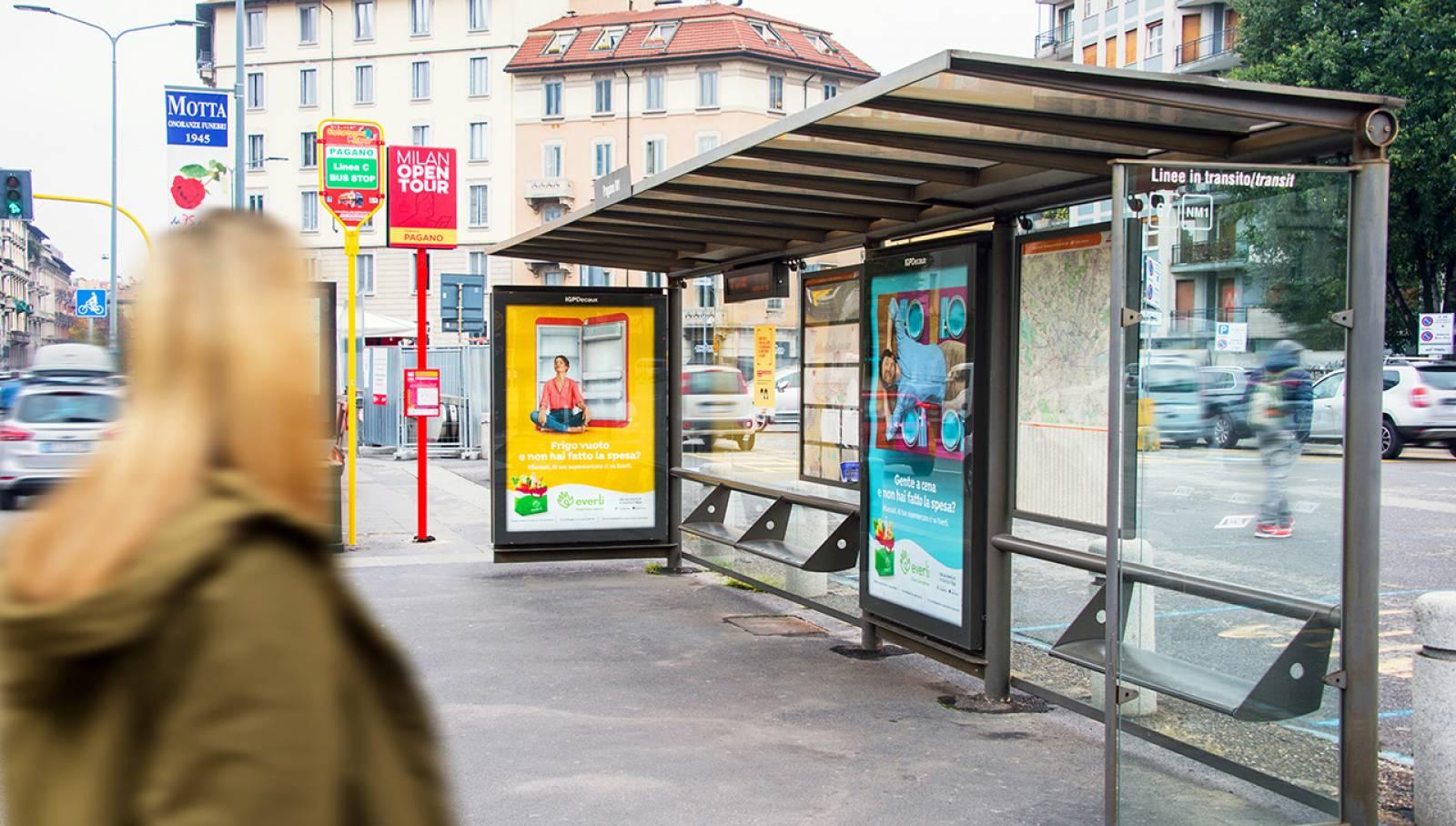Pubblicità sulle pensiline a Milano IGPDecaux pensiline per Everli