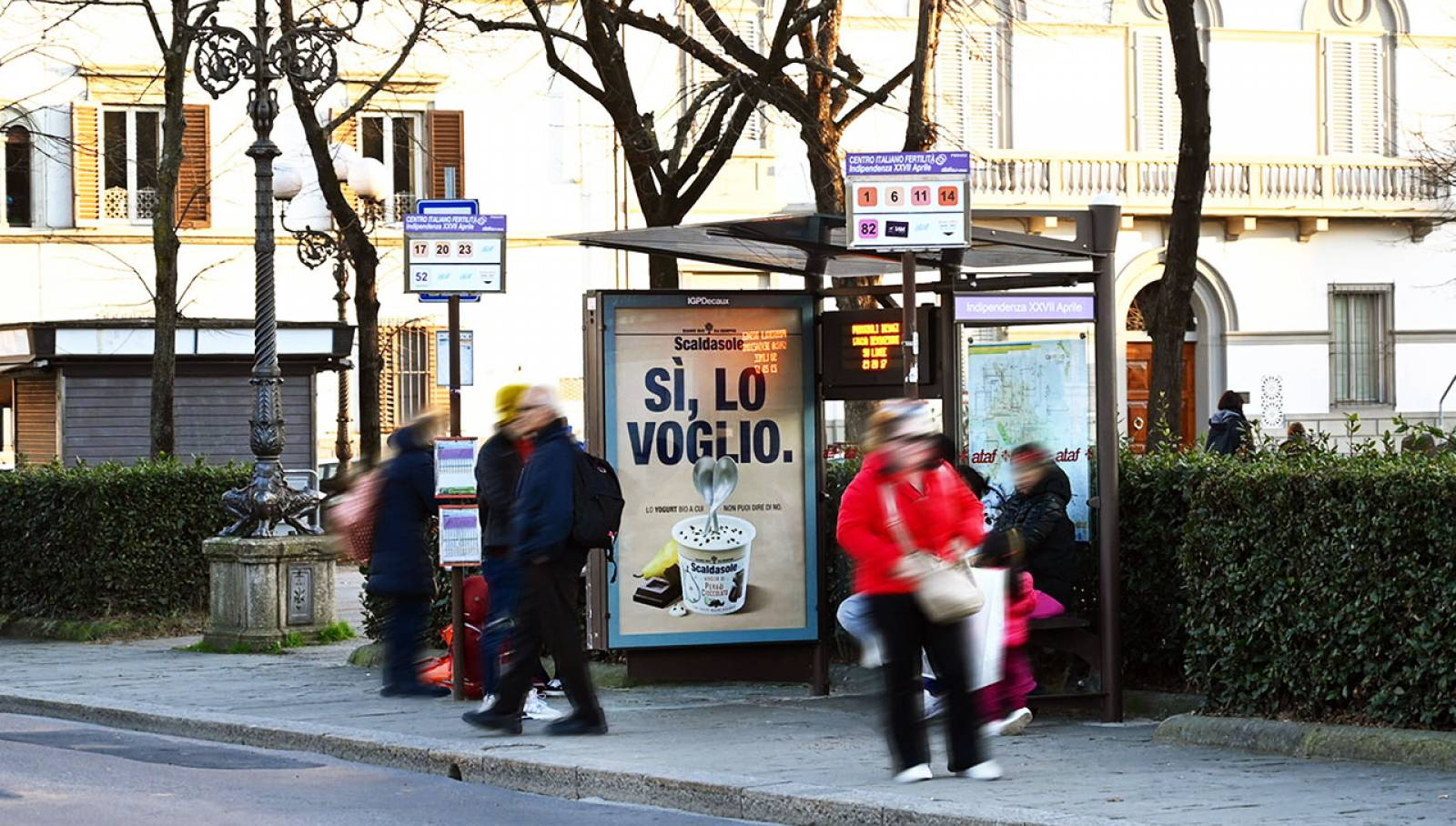 OOH advertising in Florence IGPDecaux Bus Shelters for Scaldasole
