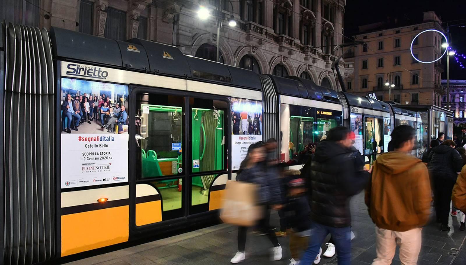 OOH IGPDecaux Milano pubblicità sui tram manyside per Segnali d'Italia