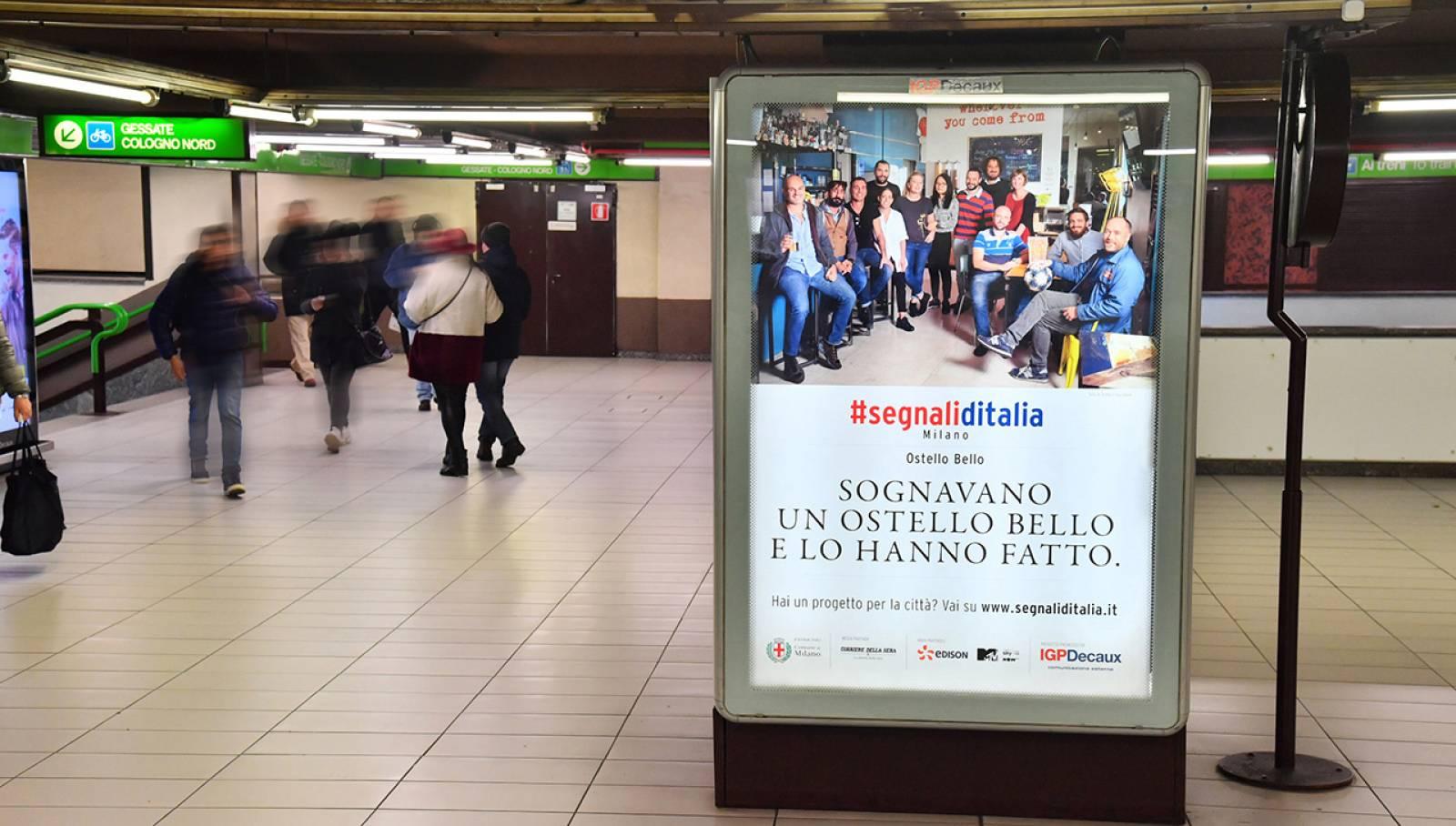 Pubblicità in metropolitana IGPDecaux Milano MUPI per Segnali d'Italia