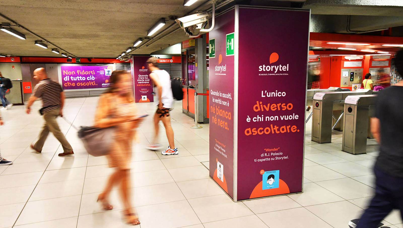 OOH advertising IGPDecaux Milan Station Domination for Storytel