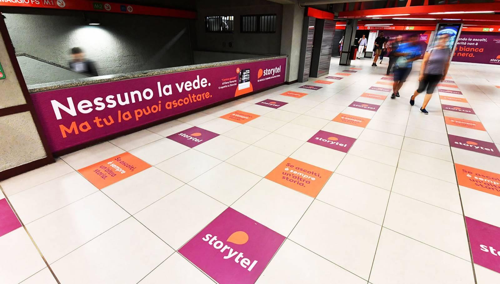 Underground advertising in Milan IGPDecaux Station Domination for Storytel