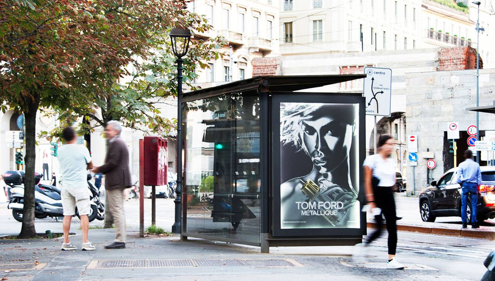 OOH IGPDecaux Milan bus shelters for Tom Ford