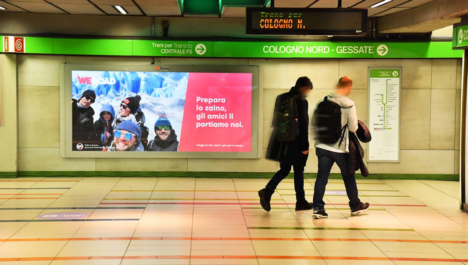 Out of Home advertising IGPDecaux Landscape Coverga Network in Milan for WeRoad in Milan