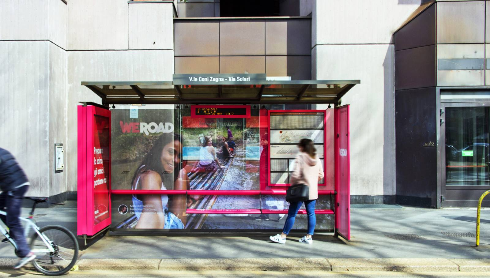 OOH advertising IGPDecaux Milan Brand Shleters for WeRoad