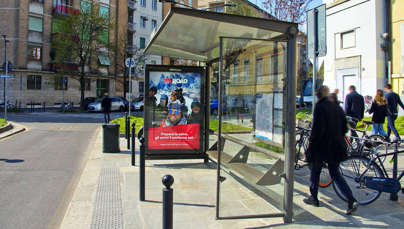 IGPDecaux OOH advertising Bus Shelters in Milan for WeRoad