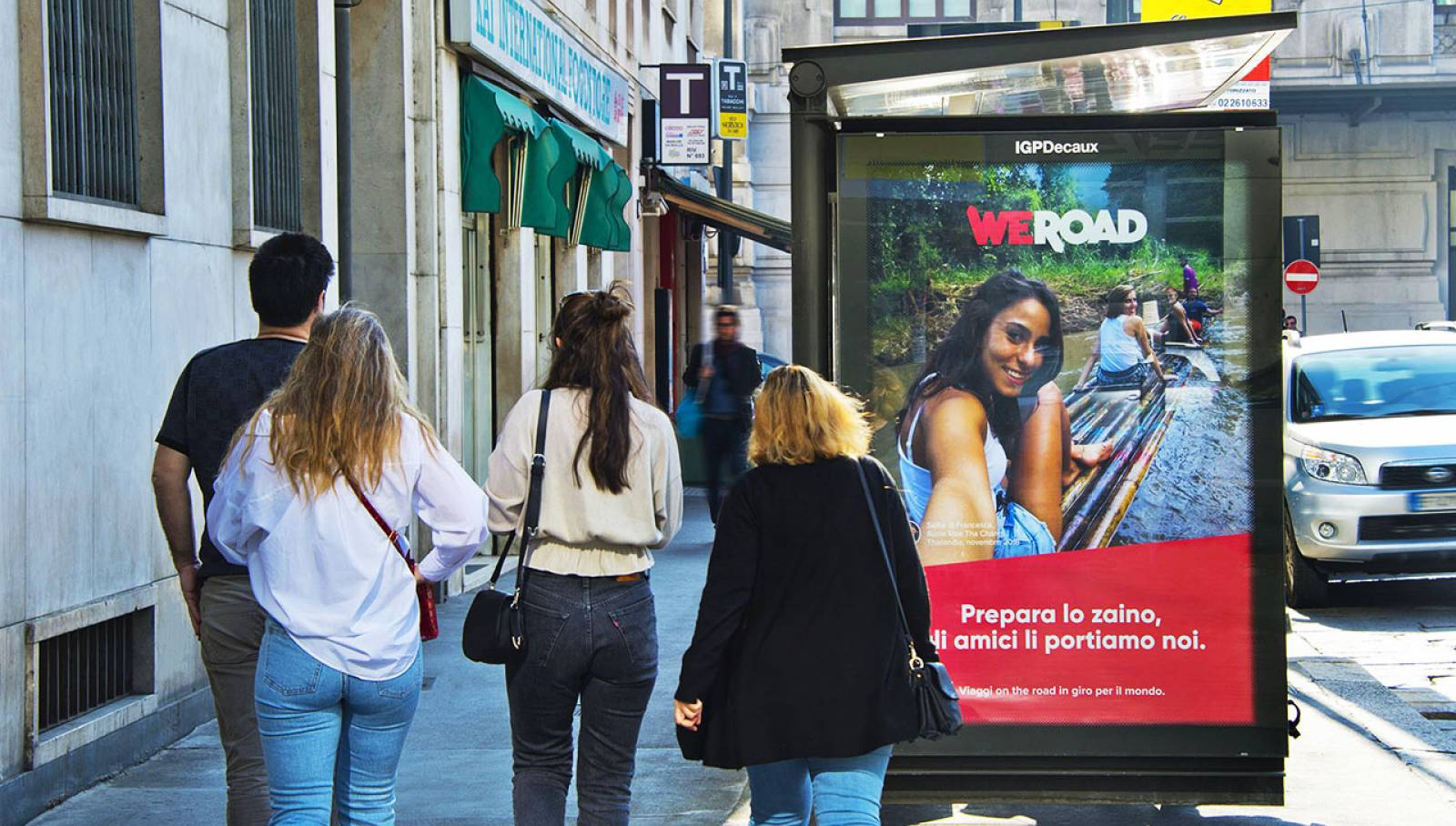 OOH advertising IGPDecaux Bus Shelters for WeRoad in Milan