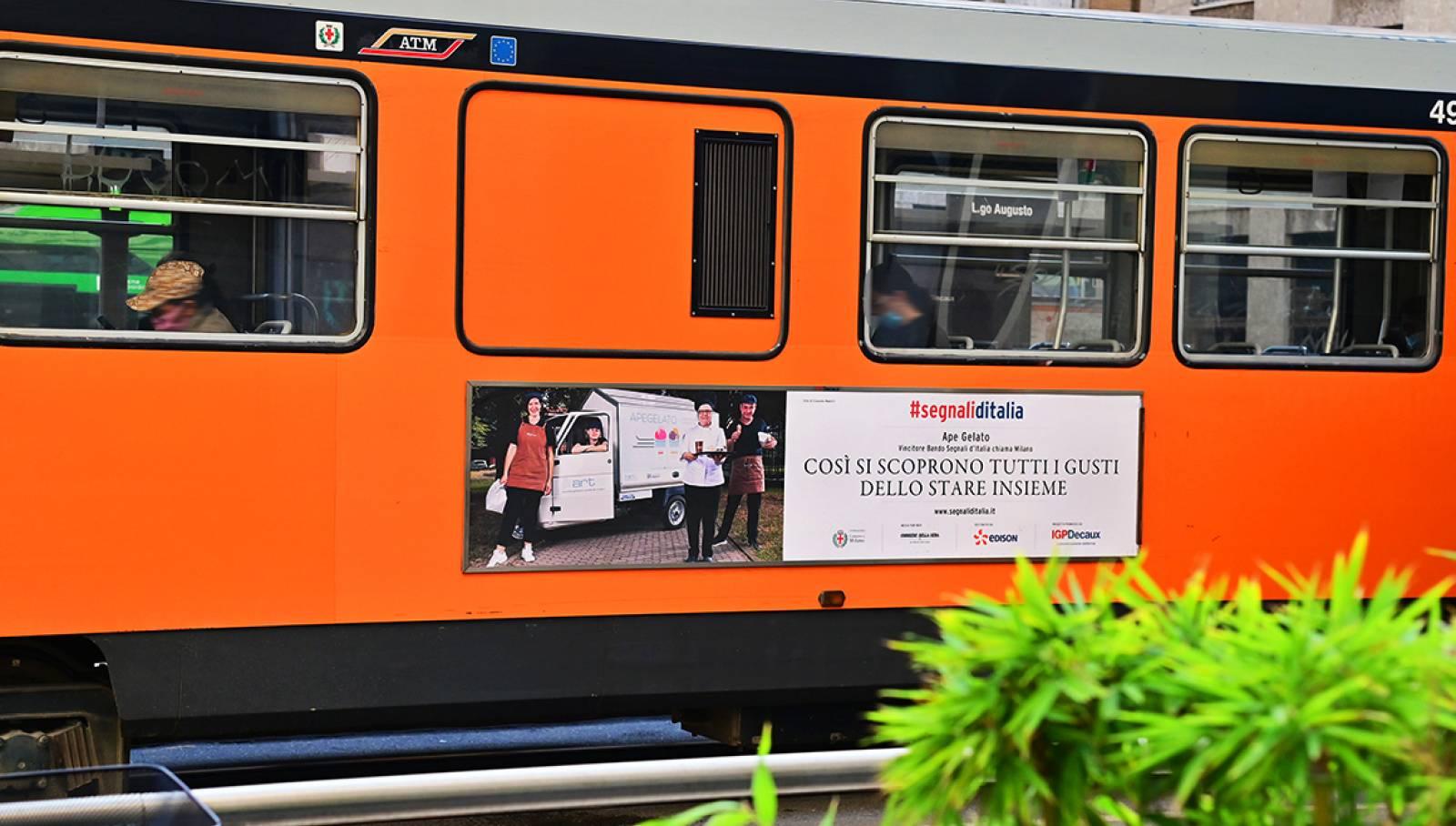 IGPDecaux campagna OOH Segnali d'Italia progetti vincitori bando sidebanner per ApeGelato Milano
