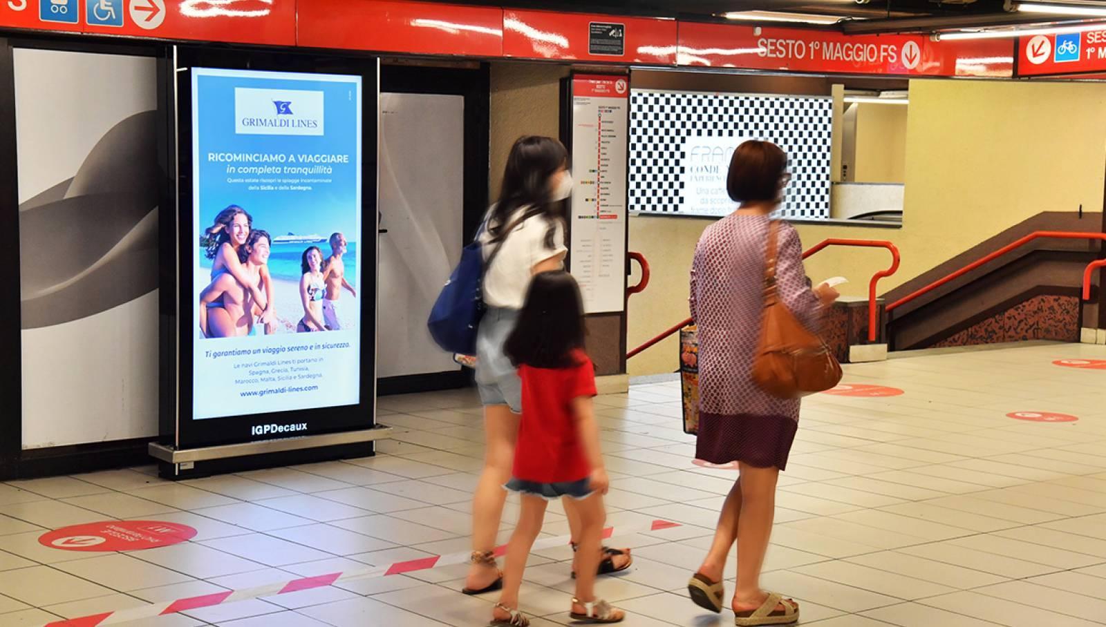 IGPDecaux pubblicità in metropolitana a Milano Campagna OOH per Grimaldi Lines