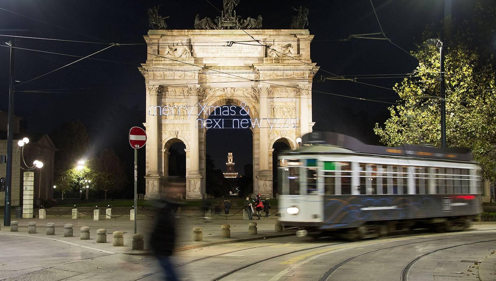 Christmas lights in Milan for Nexi