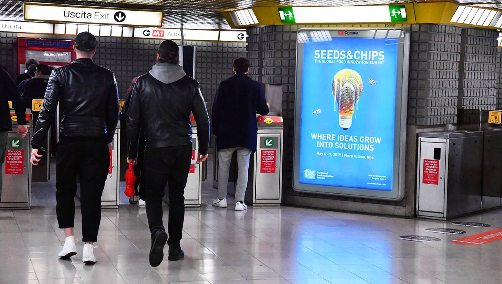 Underground advertising IGPDecaux Milan Portrait Coverage Network for Seeds&Chips