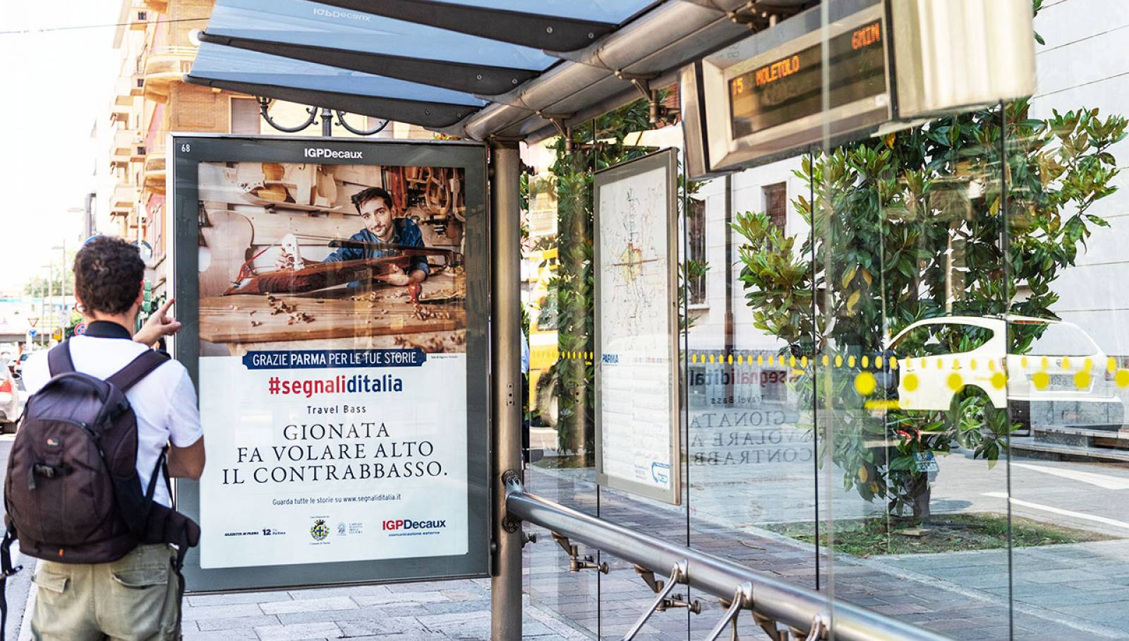 IGPDecaux Out of Home advertising Bus Shelters in Parma for segnali d'Italia thanks campaign