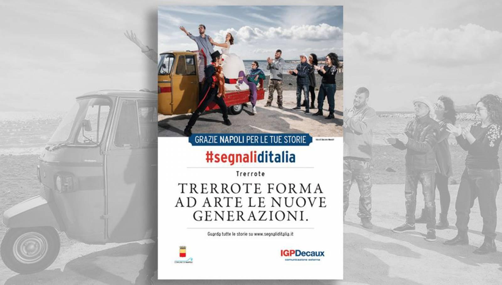 Segnali d'Italia thanks campaign Naples Associazione Trerrote