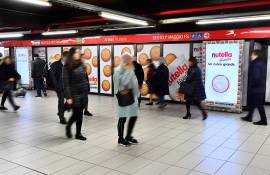 OOH advertising in the milanese underground Station Domination IGPDecaux for Ferrero Nutella Biscuits