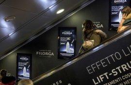 Pubblicità in metropolitana IGPDecaux digital escalator per Filorga a Roma