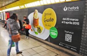 Pubblicità in metropolitana a Milano Circuito Phygital IGPDecaux per TheFork