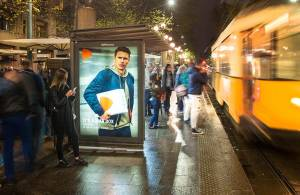 Advertising on shelters IGPDecaux Milan Bus Shelters + MUPI for Zalando