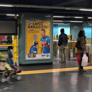 Underground advertising IGPDecaux Portrait Coverage Network in Naples for M&M'S