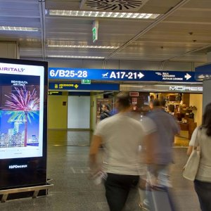 Airport advertising at Linate airport digital network for Grimaldi Lines