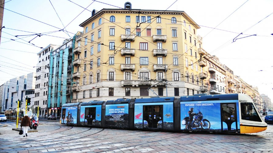 Advertising on tram IGPDecaux Full-Wrap in Milan for Africa Twin