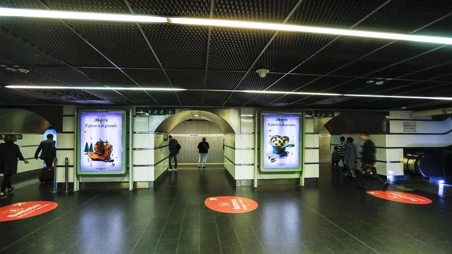 Underground advertising Rome Portrait Coverage Network for Bauli IGPDecaux