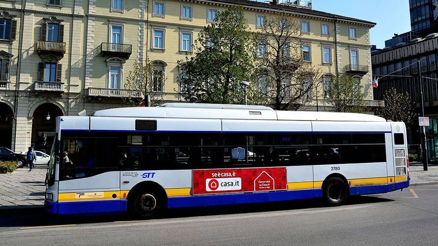 Pubblicità autobus Torino IGPDecaux Side Banner per Casa.it