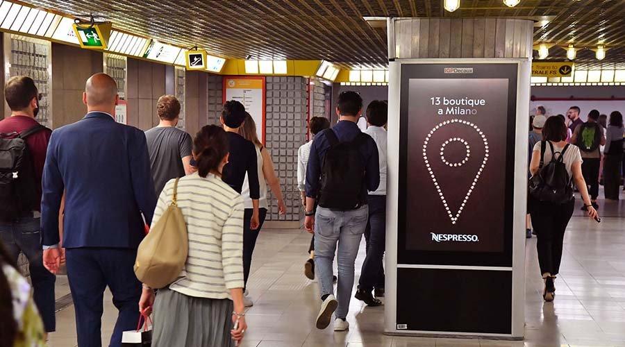 Underground advertising Milan Underground Vision Network for Nespresso IGPDecaux