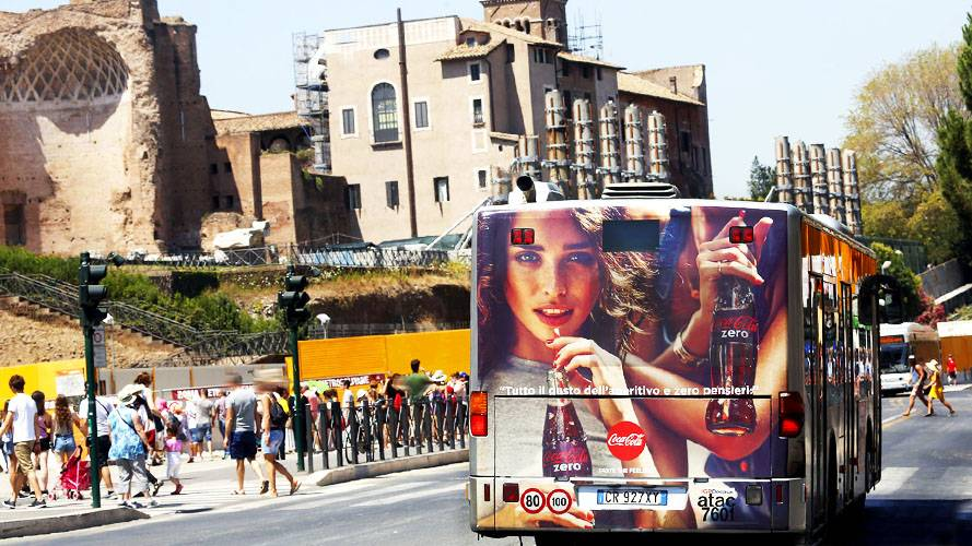 Advertising on buses Rome IGPDecaux FullBack for Coca-Cola