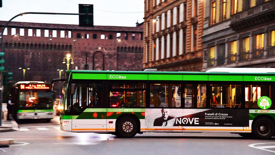 Bus advertising IGPDecaux Landscape Stickers in Milan for Crozza
