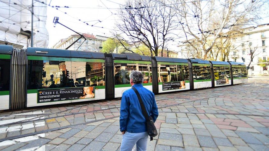Pubblicità automezzi IGPDecaux tabella Side Banner in Milano for Dürer e il Rinascimento