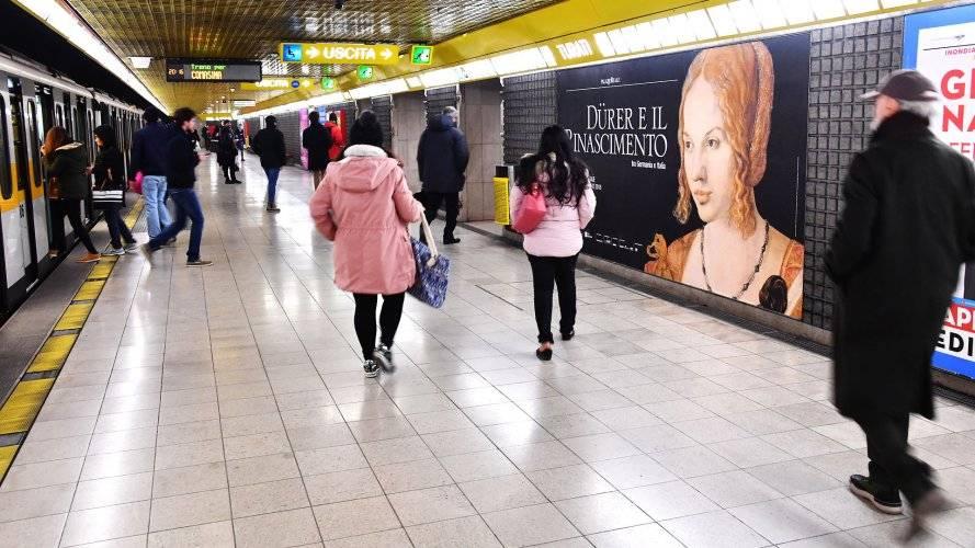 Pubblicità metropolitana Milano IGPDecaux circuito phygital per Dürer e il Rinascimento