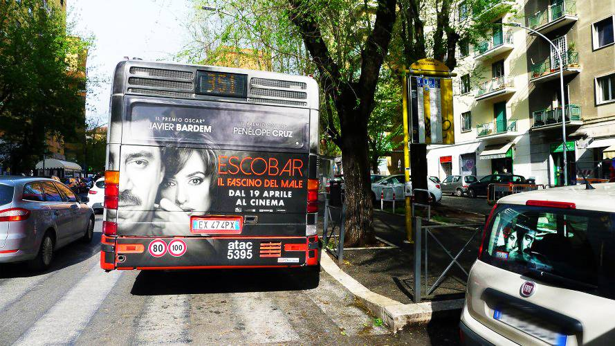 Out of Home advertising IGPDecaux FullBack in Rome for Escobar