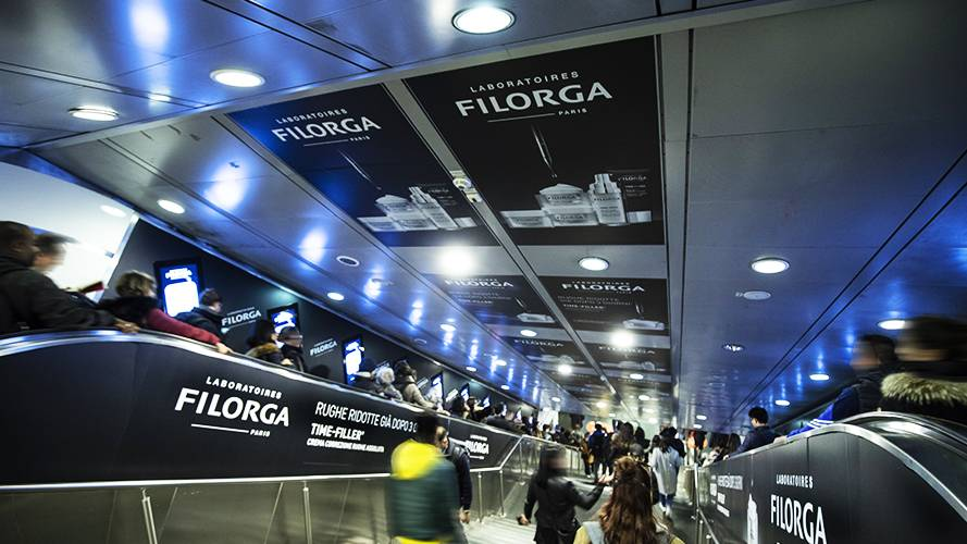 Underground advertising Area station domination IGPDecaux in Rome for Filorga