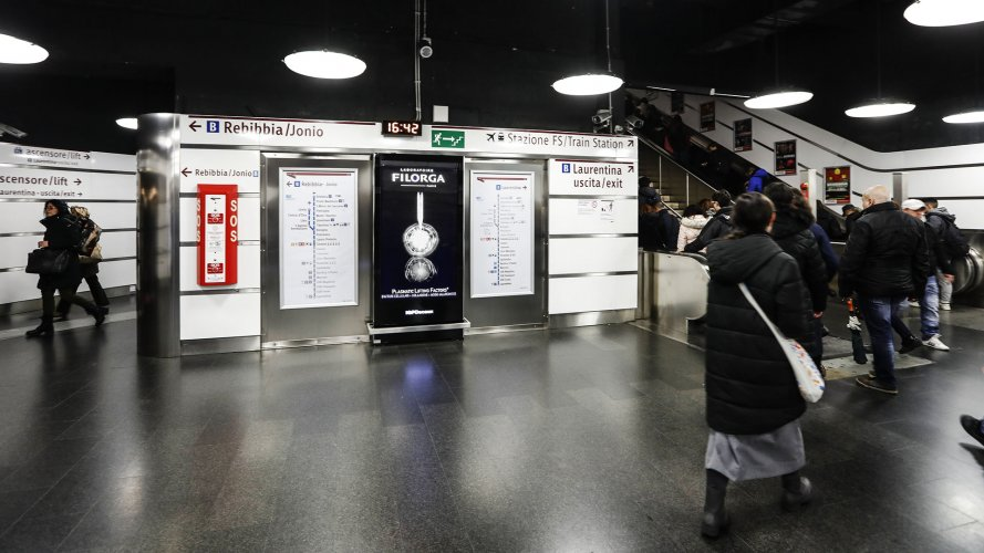 Pubblicità metropolitana IGPDecaux circuito digital a Roma per Filorga